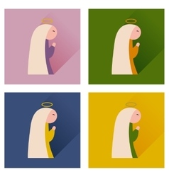 Concept of flat icons with long shadow Virgin Mary vector