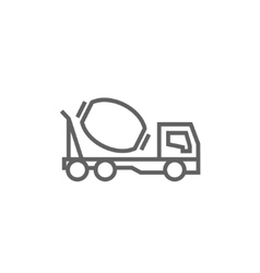 Concrete mixer truck line icon vector image