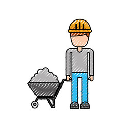 construction worker with wheelbarrow cement vector image