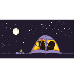 Couple in a camping tent by night vector