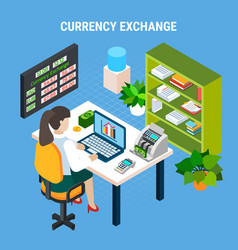 currency exchange banking isometric composition vector image