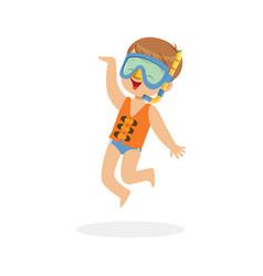 cute happy boy wearing orange life jacket snorkel vector image