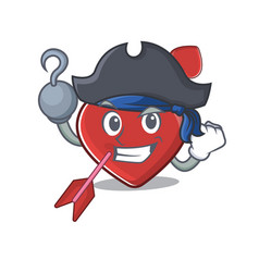 Cute heart and arrow mascot design with a hat vector