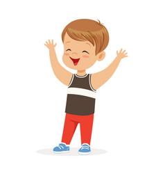Cute smiling little boy in casual clothes colorful vector