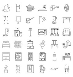 decoration icons set outline style vector image