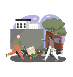 delivery man loader with hand truck full of vector image