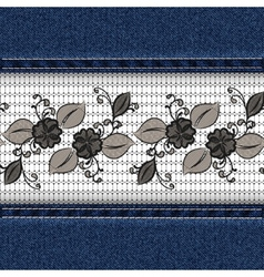 Denim horizontal background with black lace ribbon vector image