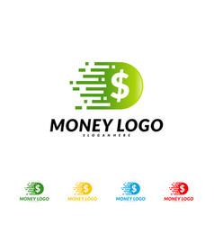 fast money logo design concept fast coin logo vector image