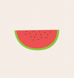 flat fresh slice water melon on grid background vector image