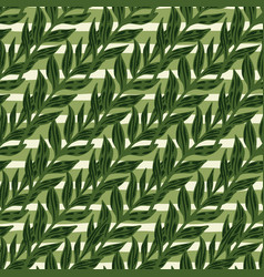 Forest seamless pattern with diagonal foliage vector