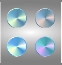 four volume control dial button set of metal blue vector image