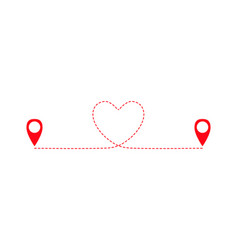 Geolocation signs connected with heart route vector