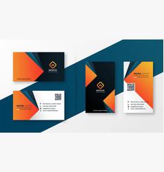geometric modern business card design in orange vector image