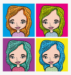 girl pop art cartoon vector image