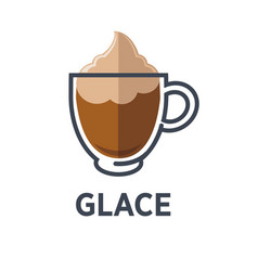 Glace coffee isolated on white background vector
