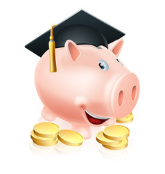 Graduation piggy bank vector