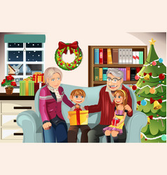grandparents and grandchildren on christmas time vector image