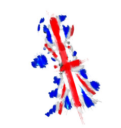grunge map united kingdom with union jack vector image