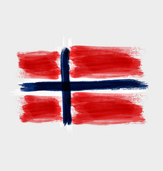 grunge watercolored flag of norway on gray vector image