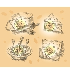 hand drawn sketch set cheese vector image