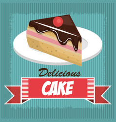 icon delicious cake dessert isolated vector image
