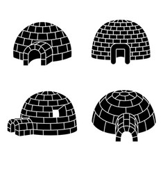 Igloo icon set simple style vector
