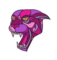 Jaguar angry head mosaic color vector