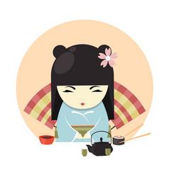 japanese geisha character in kimono clothing vector image