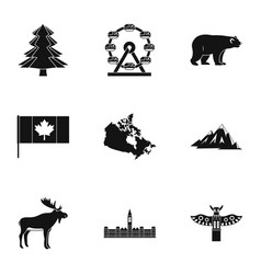 Landmarks of canada icon set simple style vector