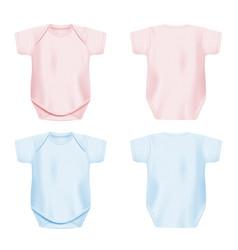 Light pink and blue newborn baby onesie mockup set vector