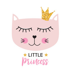 Little cute cat princess vector