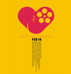 love cinema conceptual art with heart shape and fi vector image