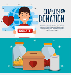 Man with charity donation icons vector