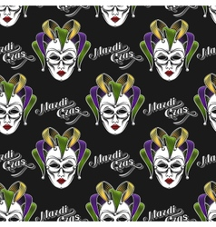 Mardi Gras mask seamless pattern vector