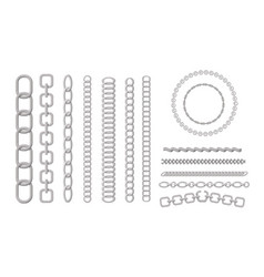 metal chains silver chrome or steel links vector image