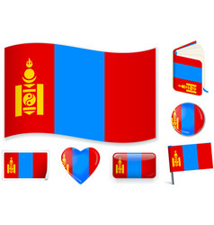 Mongolia mongolian flag wave book circle pin vector