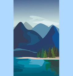 mountain landscape with fir trees and river vector image