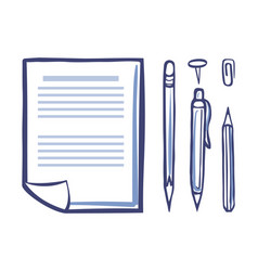 Office paper document page icons set sketch vector