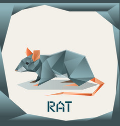 Origami grey rat vector
