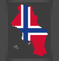 Oslo map of norway with norwegian national flag vector