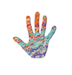 painted human hand vector image