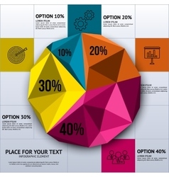 Pie chart in polygon style - business statistics vector image
