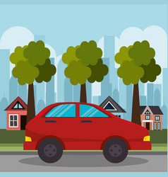 red car suburb houses and tree vector image