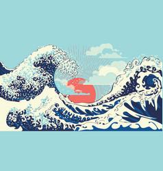 Retro great waves design vector