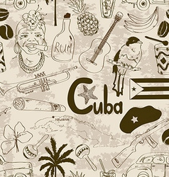 Retro sketch Cuban seamless pattern vector