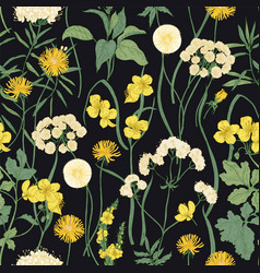Romantic seamless pattern with blooming wild vector