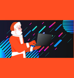 santa claus using laptop merry christmas happy new vector image