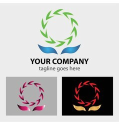 Secycling symbol logo between two hands vector image