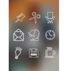 Set of flat office icons vector