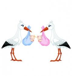 Stork baby vector